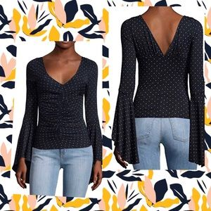 FREE PEOPLE Polka Dot Ruched Front Bell Sleeve Top